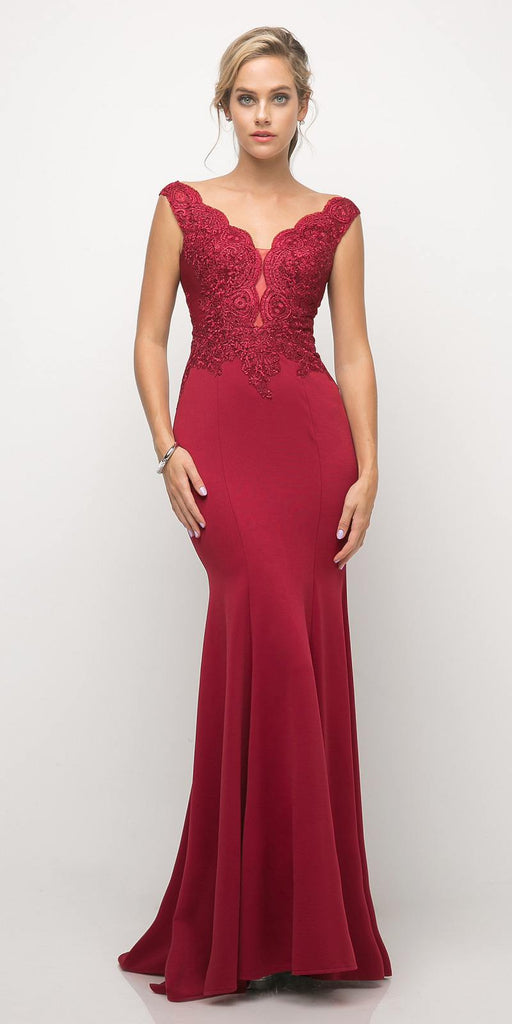 Cinderella Divine 770 Burgundy V-Neckline Lace Bodice Fit and Flare Evening Gown