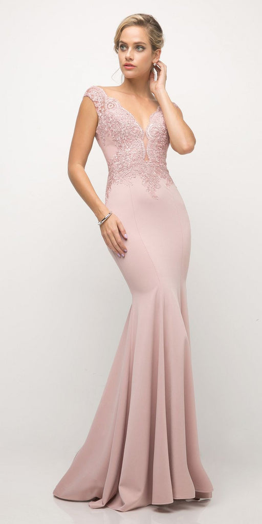 Cinderella Divine 770 Dusty Rose V-Neckline Lace Bodice Fit and Flare Evening Gown