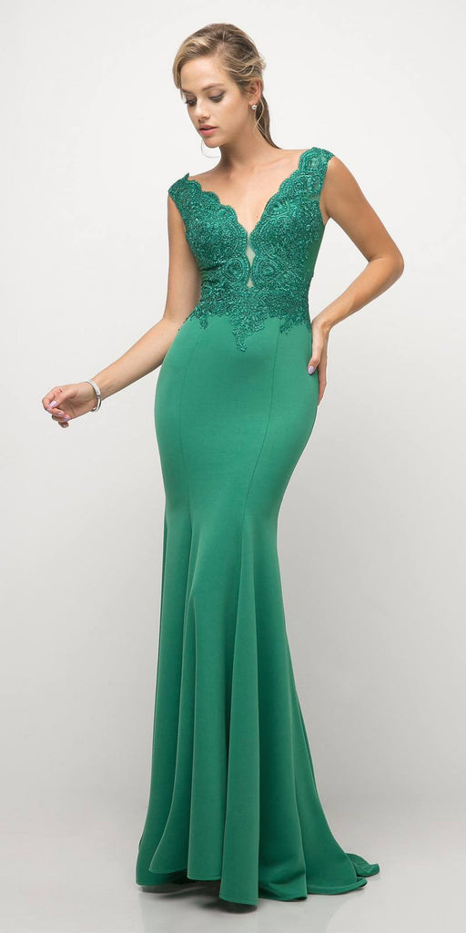 Cinderella Divine 770 Light Emerald V-Neckline Lace Bodice Fit and Flare Evening Gown