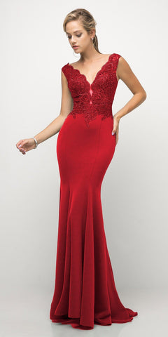 Cinderella Divine 770 Red V-Neckline Lace Bodice Fit and Flare Evening Gown c9ac8a3e3