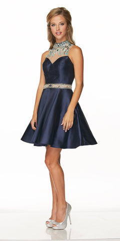 Juliet 770 High Beaded Neckline Short Prom Dress Navy Blue Sleeveless
