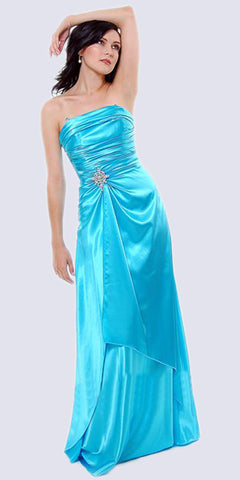 Cinderella Divine 7700 Long Strapless Aqua Formal Dress Satin Rhinestone Pleated Bodice