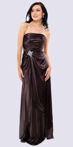 Cinderella Divine 7700 Long Strapless Black Formal Dress Satin Rhinestone Pleated Bodice