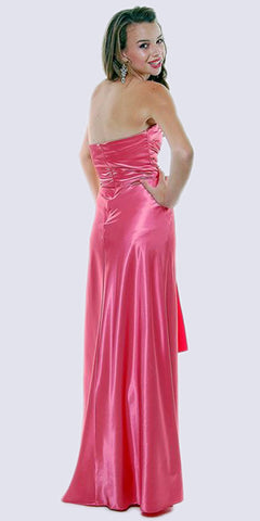 Long Strapless Coral Formal Dress Satin Rhinestone Pleated Bodice