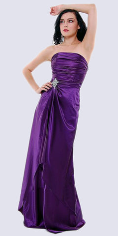 Cinderella Divine 7700 Long Strapless Eggplant Formal Dress Satin Rhinestone Pleated Bodice