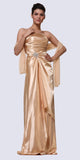 Cinderella Divine 7700 Long Strapless Gold Formal Dress Satin Rhinestone Pleated Bodice