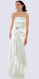 Cinderella Divine 7700 Long Strapless Ivory Formal Dress Satin Rhinestone Pleated Bodice