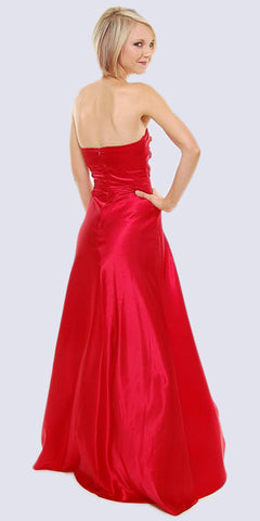 Long Strapless Red Formal Dress Satin Rhinestone Pleated Bodice