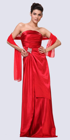 Cinderella Divine 7700 Long Strapless Red Formal Dress Satin Rhinestone Pleated Bodice