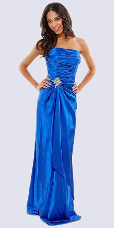 Cinderella Divine 7700 Long Strapless Royal Blue Formal Dress Satin Rhinestone Pleated Bodice