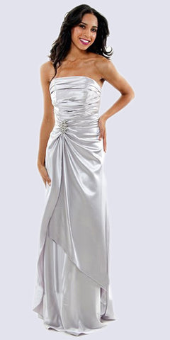 Cinderella Divine 7700 Long Strapless Silver Formal Dress Satin Rhinestone Pleated Bodice