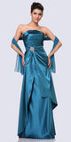 Cinderella Divine 7700 Long Strapless Teal Formal Dress Satin Rhinestone Pleated Bodice