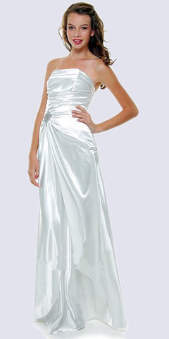 Cinderella Divine 7700 Long Strapless White Formal Dress Satin Rhinestone Pleated Bodice