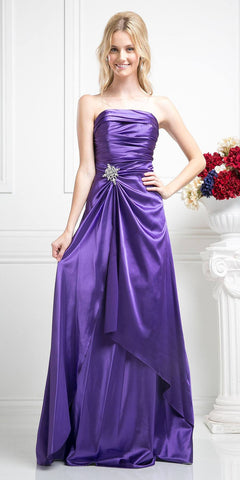 Long One Shoulder Sleeveless Glitter Prom Gown Prism Removable Bow