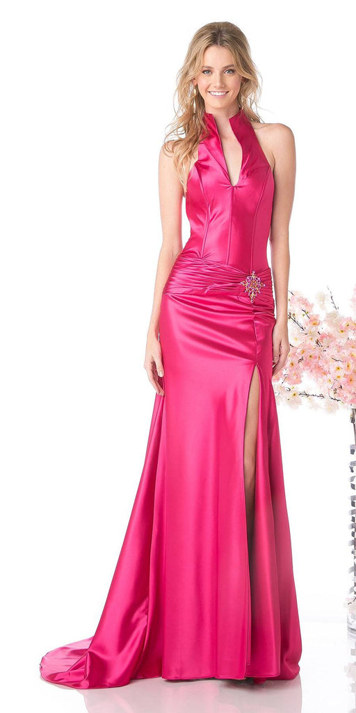 Fuchsia Collar Halter Dress Satin Formal Open Slit Sexy Full Length Gown