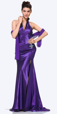 Purple Collar Halter Dress Satin Formal Open Slit Sexy Full Length Gown