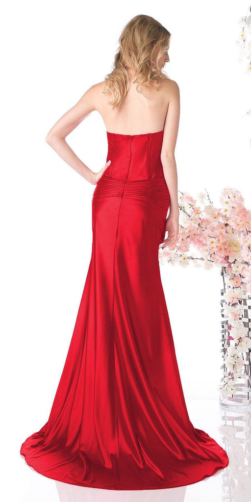 Red Collar Halter Dress Satin Formal Open Slit Sexy Full Length Gown