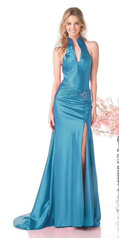Turquoise Collar Halter Dress Satin Formal Open Slit Sexy Full Length Gown