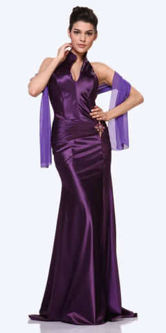 Eggplant Collar Halter Dress Satin Formal Open Slit Sexy Full Length Gown