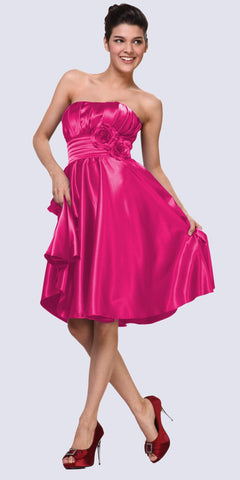Strapless Satin Fuchsia Knee Length Dress Pleated Bodice