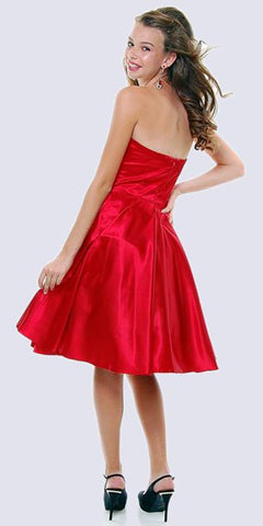 Strapless Satin Red Knee Length Dress Pleated Bodice