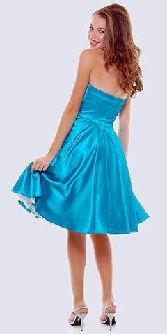 Strapless Satin Turquoise Knee Length Dress Pleated Bodice