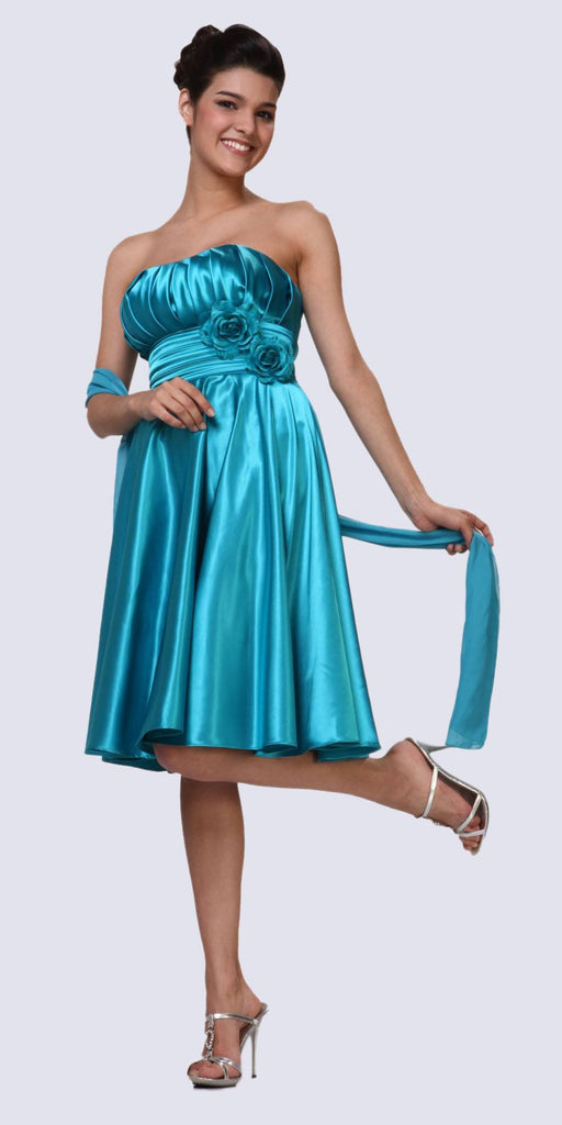 Strapless Satin Purple Knee Length Dress Pleated Bodice