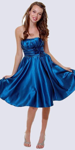 Strapless Satin Teal Knee Length Dress Pleated Bodice