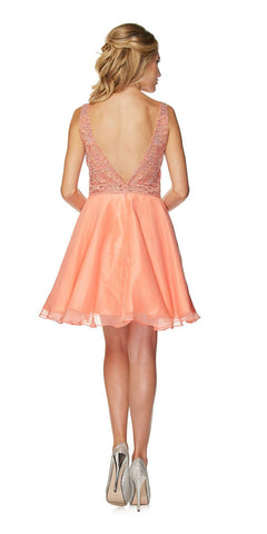Juliet 771 Lace Appliqued Top V-Shape Open Back Short Prom Dress Coral
