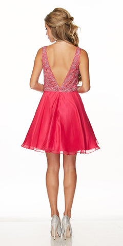 Juliet 771 Lace Appliqued Top V-Shape Open Back Short Prom Dress Fuchsia