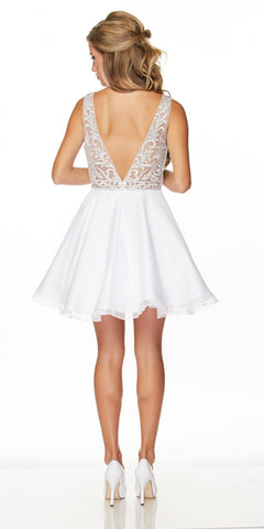 Juliet 771 Lace Appliqued Top V-Shape Open Back Short Prom Dress White