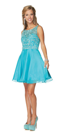 Juliet 771 Lace Appliqued Top V-Shape Open Back Short Prom Dress Turquoise