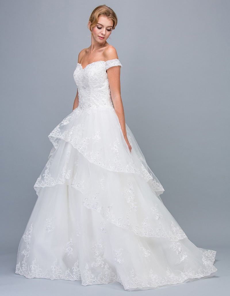 Off Shoulder Lace Tiered Wedding Ball Gown Off White