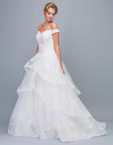 Eureka Fashion 7710 Off-Shoulder Lace Tiered Wedding Ball Gown Off White