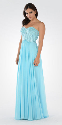 Aqua Sweetheart Neck Sequined Bodice Long Formal Dress