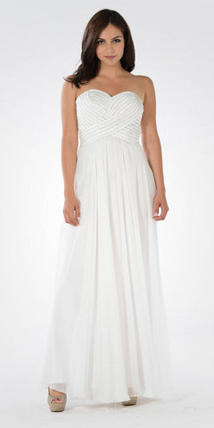 Off White Sweetheart Neck Sequined Bodice Long Formal Dress