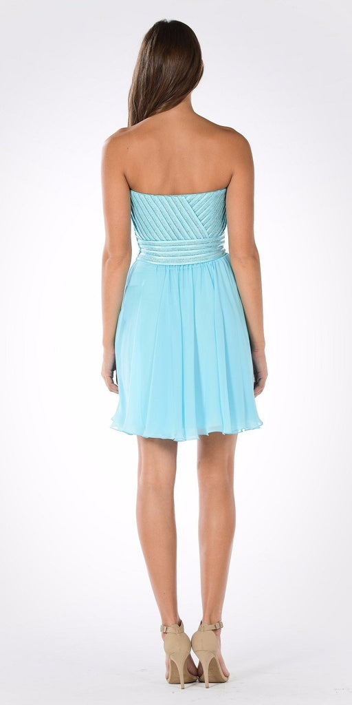 Strapless Embellished Bodice A-line Chiffon Short Party Dress Aqua