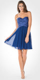 Strapless Embellished Bodice A-line Chiffon Short Party Dress Navy Blue