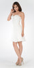 Strapless Embellished Bodice A-line Chiffon Short Party Dress Off White