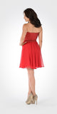 Strapless Embellished Bodice A-line Chiffon Short Party Dress Red