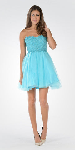 Poly USA 7718 - Lace Bodice Tulle Skirt A-line Homecoming Dress Strapless Aqua