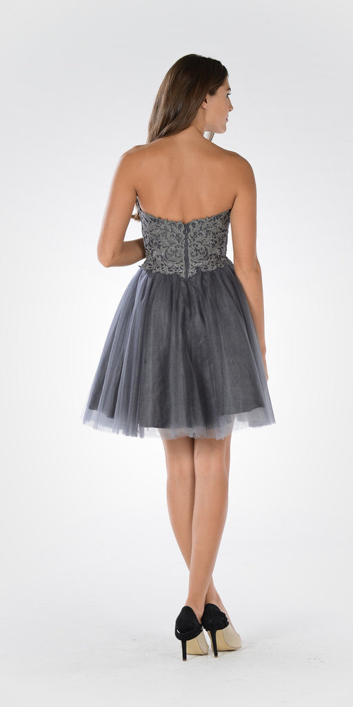 Poly USA 7718 - Lace Bodice Tulle Skirt A-line Homecoming Dress Strapless Charcoal