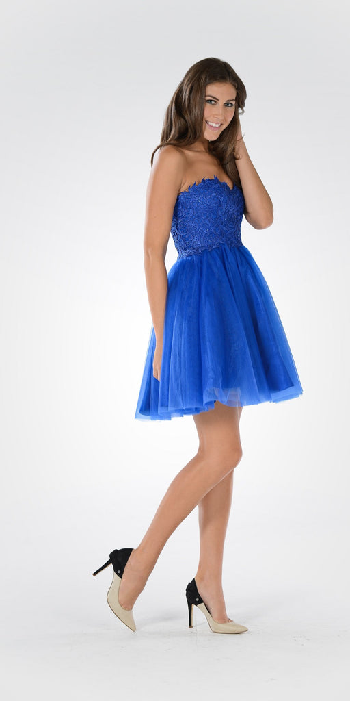 Poly USA 7718 - Lace Bodice Tulle Skirt A-line Homecoming Dress Strapless Cobalt
