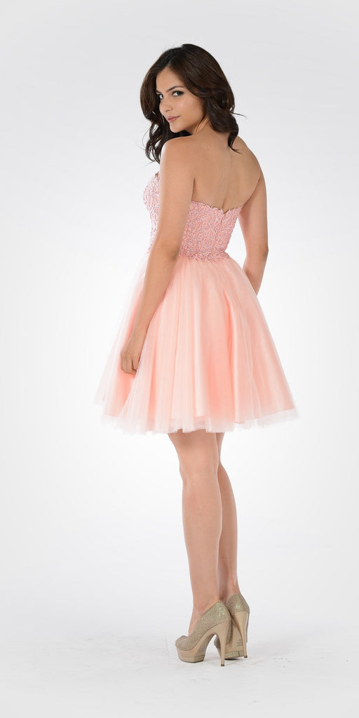 Poly USA 7718 - Lace Bodice Tulle Skirt A-line Homecoming Dress Strapless Pink