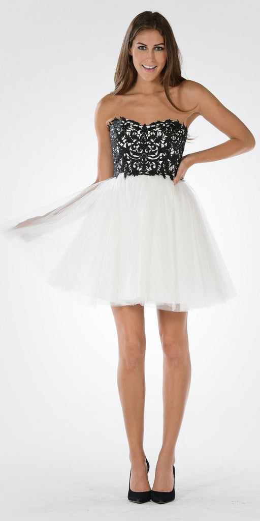 Poly USA 7718 - Lace Bodice Tulle Skirt A-line Homecoming Dress Strapless Black/White