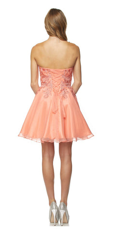 Juliet 772 Coral Strapless Bead Appliqued Bodice Homecoming Dress
