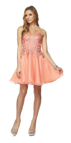 Appliqued Champagne Homecoming Short Dress Strapless
