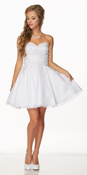 Juliet 772 White Strapless Bead Appliqued Bodice Homecoming Dress