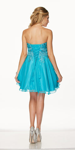Juliet 772 Turquoise Strapless Bead Appliqued Bodice Homecoming Dress