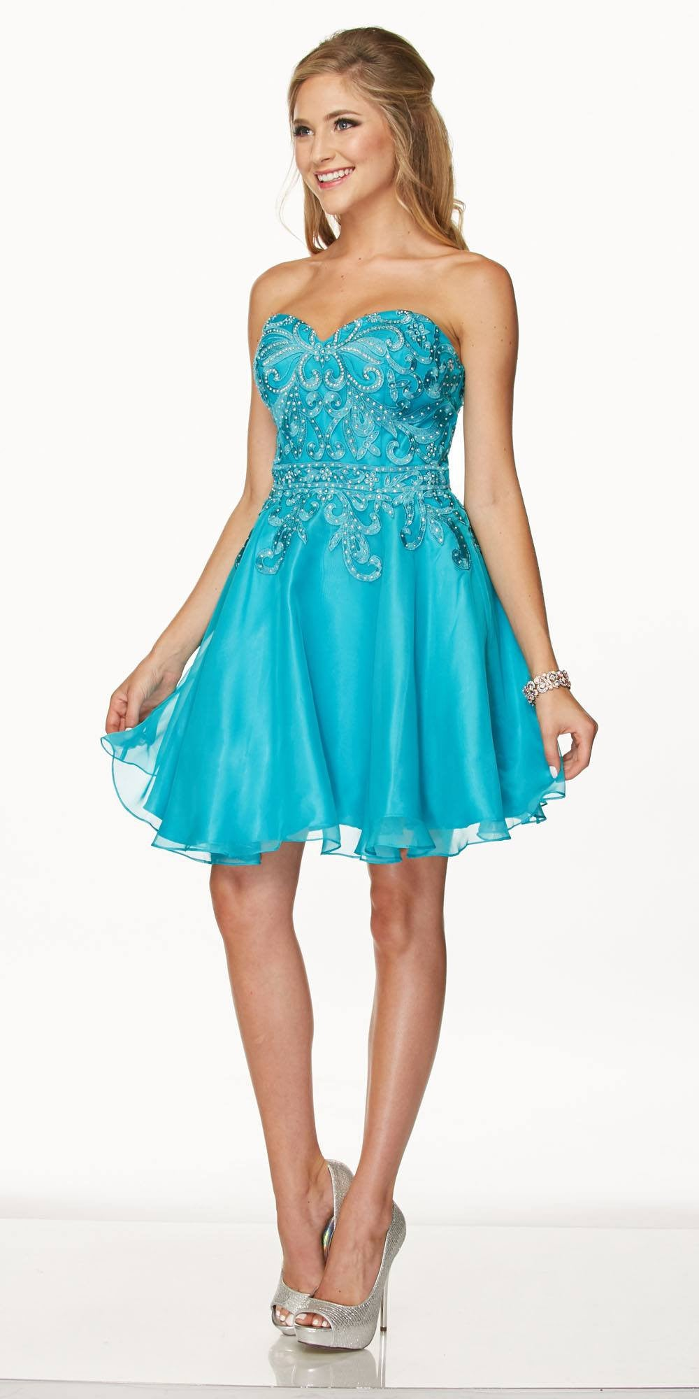 Homecoming turquoise dresses with straps